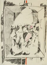 """Lithography lithographie Litografia POSSENTI Antonio """"L'Ascensore"""" PdA anni '60"""
