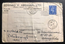 1942 England War Economy Label Commercial Cover To Port Hope Canada
