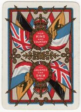 Playing Cards 1 Swap Card - Old Antique Wide WW1 Military FOR KING AND COUNTRY 6