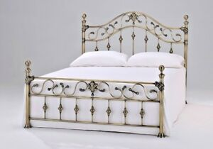 LAVISH NEW ELIZABETH SOLID BRASS FINISH METAL BED FRAME IN DOUBLE & KING SIZE