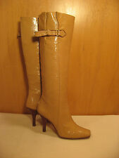 JIMMY CHOO Tall Knee High Tan Leather Boots with Buckles - Size 36 or 6