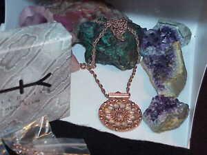 "HEIDI KLUM Rose Gold Silver Tone 28"" Medalion Necklace Wildlife 5 Chains New Box"