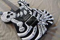 George Lynch's Guitar Black Skull Bones Carved Body Guitar Electric 6 String