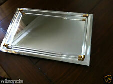 Vintage Mirrored Vanity Tray With Antique Brass & Glass Frame