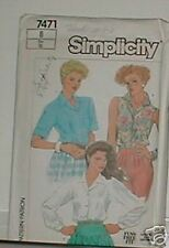 Simplicity Pattern 7471 Ms 8 Fuzz Free Shirts Front Button Convertible Collar