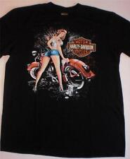 HARLEY DAVIDSON MOTOR CYCLE MENS SIZE LARGE Z&M BLACK MINT SHORT SLEEVE T-SHIRT