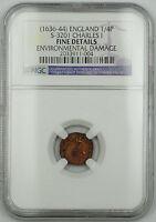 1636-44 England 1/4P Farthing Copper Coin S-3201 Charles I Fine Dtls Env Dmg AKR