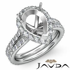 Pear Shape Semi Mount Diamond Engagement Ring 18k White Gold Halo Setting 1.3Ct