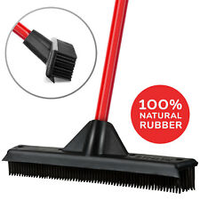 Rubber Broom & Squeegee, Washable, Scratch Free, Perfect for Pet Hair, Carpets