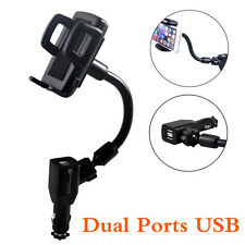 Universal Car Mobile Phone Holder Stand Dual Ports USB Charger Mount For iPhone
