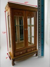 "5"" Display Cabinet Wooden Storage Cupboard Drawers Miniature Furniture Shelves"