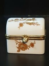 """Dubarry/Limoges Gilded Floral Sprays Chest Shaped Trinket/Pill Box - 2"""""""