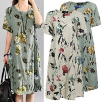 Summer Womens Floral Tunic Tops Ladies Short Sleeve T-Shirt Dress Plus Size 8-26