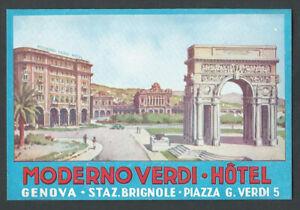 Hotel Moderno Verdi GENOVA Italy - vintage luggage label