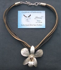 """SOLID SILVER SMOKEY QUARTZ ORCHID CORD NECKLACE 18""""  925 STERLING"""