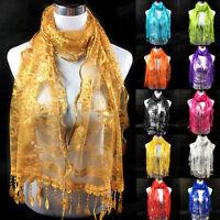 Infinity Scarf Fashion Women's Long Lace Floral Scarf Tassel Scarves Wrap Shawl