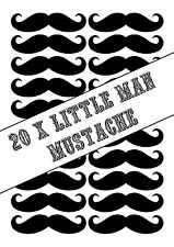 20 x Little Man Mustaches Stickers for Balloons, Bags, Plates, Party Decorations