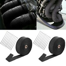"2 Roll x 2"" 50Ft Black Fiberglass Exhaust Header Pipe Heat Wrap Tape + 20 Ties"