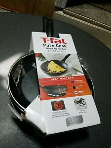 "T-fal® Pure Cook Nonstick 3-Piece Fry Pan 8""9.5"" 12"" Black Lifetime Guarantee"