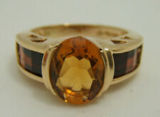 14k Yellow Gold Curved Cut Garnet and Oval Citrine RIng Size 7 in Box