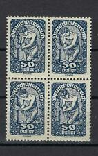 Austria 1919 Sc# 215 Allegory of New Republic 50h block 4 MNH