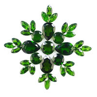 33 Pcs Natural Chrome Diopside 7mm-11mm Vivid Green Deluxe Quality Gemstones Lot
