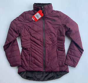 NEW NORTH FACE WOMENS MOSSBUD INSULATED REVERSIBLE JACKET BROWN FLEECE FIG S SM