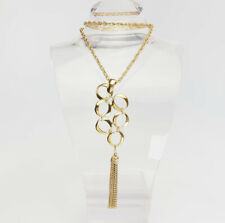 Superb long gold tone metal abstract modern necklace w tassel by crown Trifari