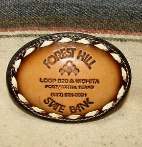 Vintage Tony Lama Forest Hill State Bank Brown Leather Western Belt Buckle New