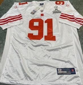 Reebok JUSTIN TUCK NY Giants #91 White & Red SUPER BOWL XLVI SEWN Jersey Size 56