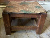 Vintage Retro Wooden Oak Table Foot Stool Plant Stand String