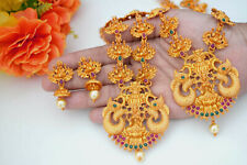 South Indian Temple Jewelry Long Haram Necklace Set Jhumki Red Gold Tone Matt S6