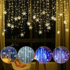 LED Snowflake Fairy String Curtain Window Lights Twinkle Christmas Xmas Party UK