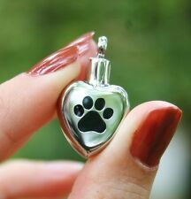 Pet Cremation Jewelry Pendant Urn for Ashes Paw Print on My Heart Dog Cat Paws