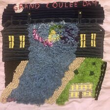 Grand Coulee Dam Vintage Embroidery Hand Embroidered Fiber Art Picture