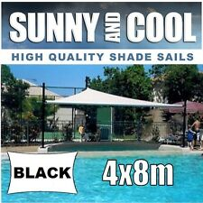 HEAVY DUTY SHADE SAIL-4x8M RECTANGLE IN BLACK  4mx8m