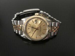 Rolex Datejust Watch 18k Gold Steel 16013 Mens 36mm