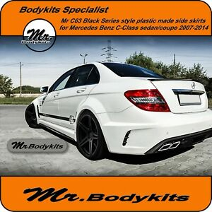 c63 Black Series Side Skirt For Mercedes Benz C-Class Sedan/Coupe 2007-2014 W204