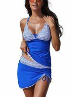 Women's Blue Two Piece Tankini Top Swim Skirt Skort Swimsuit 2 PC Set Swimwear