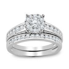 14K White Gold Fn 1.81 CT Round Cut Diamond Engagement Wedding Bridal Ring Set