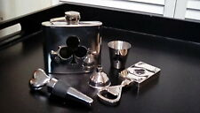 Stainless Steel Ace of Spades Bar Set-Flask,Bottle Opener & Stopper,Shot Glass!