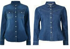Ex M&S Ladies Denim Shirt Long Sleeve Holly W Collection Top Blouse Shirt Women