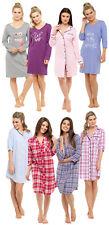 Womens Nightdress Check Nightshirt Nightie Nighty Nursing Pyjamas Ladies Size