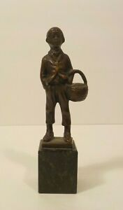 """Miniature Bronze 6"""" Figurine, Young Boy Carrying Basket, Marble Base, c. 1910"""