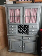 SHABBY CHIC CUPBOARD DRESSER FRENCH STYLE WITH SHELVES DRAWERS & WINE RACK