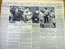 1939 NY Times newspaper Boston Red Sox TED WILLIAMS in his 1st ML baseball game