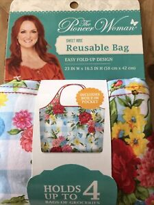 The Pioneer Woman   Sweet Rose Reusable Bag   Holds 4 Grocery Bags Easy Fold Up
