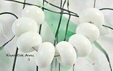 ROA Lampwork 8 White 5x8 mm Handmade Spacer Art Glass Beads SRA