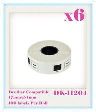 6 x Compatible for Brother DK11204 Refill only Labels 17mmx54mm QL500/550 QL700