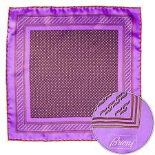 Men's BRIONI Purple Copper Circles Silk Hand Rolled Pocket Square Handkerchief